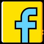 gelber grund, hellblaues f wie facebook