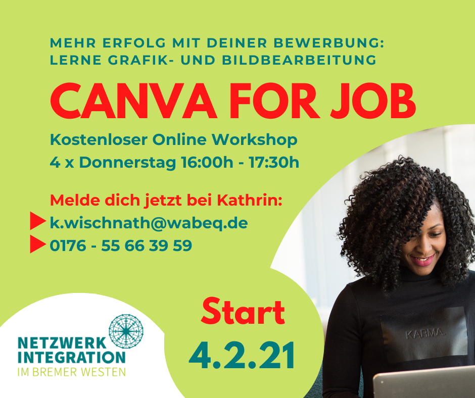 "Werbebild für den Workshop ""Canva for Job"""